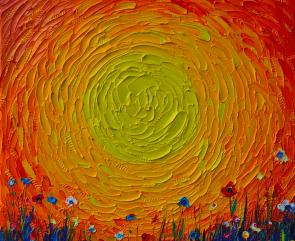 ABSTRACT SUNSHINE OF HAPPINESS textural impasto palette knife oil painting  detail Ana Maria Edulescu Painting by Ana Maria Edulescu