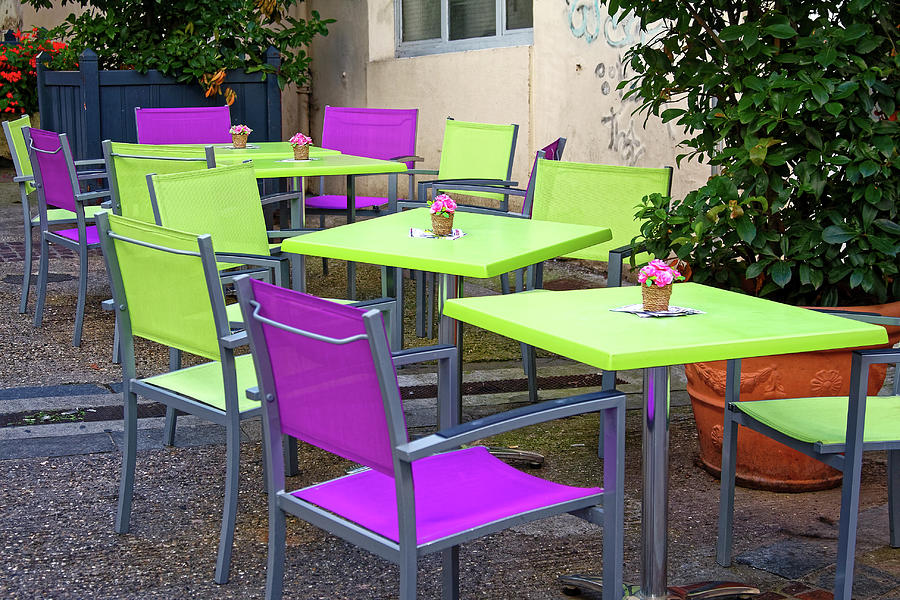 colorful outdoor tables and chairs by sally weigand