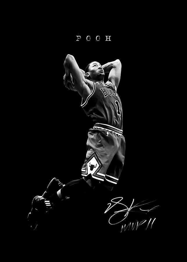 nba basketball poster chicago bulls poohdini mvp derrick rose by team awesome