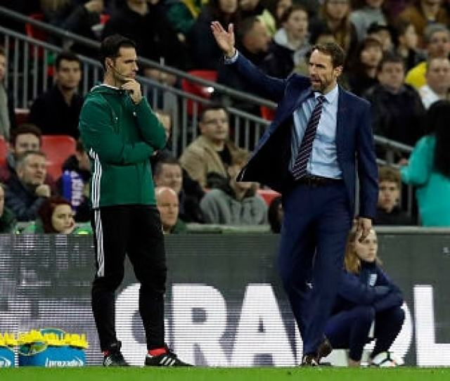 England Manager Gareth Southgate Protests During The International Friendly Against Brazil Ap