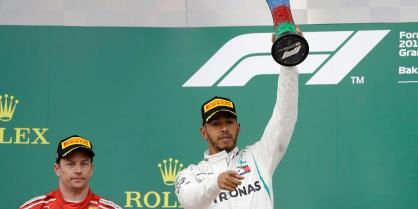 Image result for Lewis Hamilton won the Azerbaijan Grand Prix 2018 Lewis Hamilton took his first victory of the season at a dramatic and chaotic Azerbaijan Grand Prix in Baku. Mercedes team-mate Valtteri Bottas was forced to retire with just three laps to go. It was the first victory of the season for champions Mercedes.