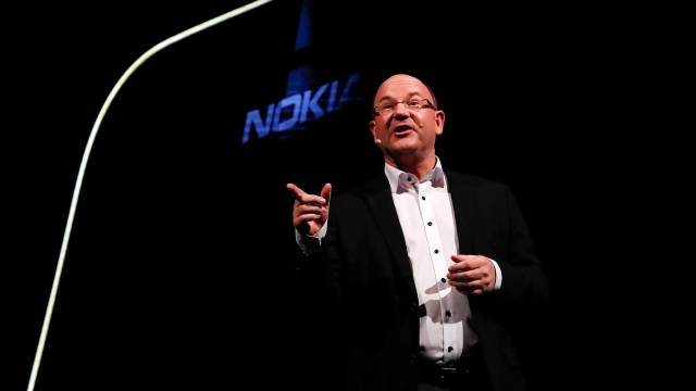 Florian Seiche, Chief Executive Officer of HMD Global presents new Nokia mobiles during the Mobile World Congress in Barcelona, Spain February 25, 2018. REUTERS/Yves Herman - RC16552C1350