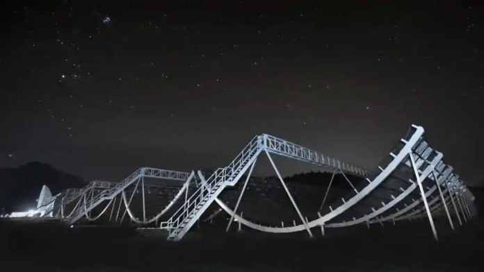 The signal discovered is among the earliest results from using the Canadian Hydrogen Intensity Mapping Experiment (CHIME) – a radio telescope inaugurated in 2017. Image: Twitter/SKA telescope