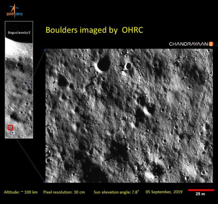 Closeup of of boulders on the moon's surface, captured by the Chandrayaan 2 Orbiter's High-Res Camera (OHRC). Image: ISRO