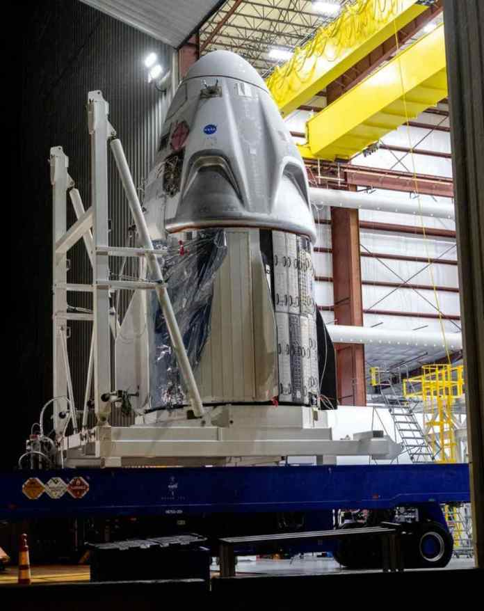 The SpaceX Crew Dragon spacecraft is designed to carry up to seven passengers.  Image credit: NASA/Kim Shiflett