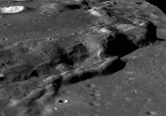 3D view of a wrinkled ridge on the Moon generated from images captured by Chandrayaan 2 TMC. Image: ISRO