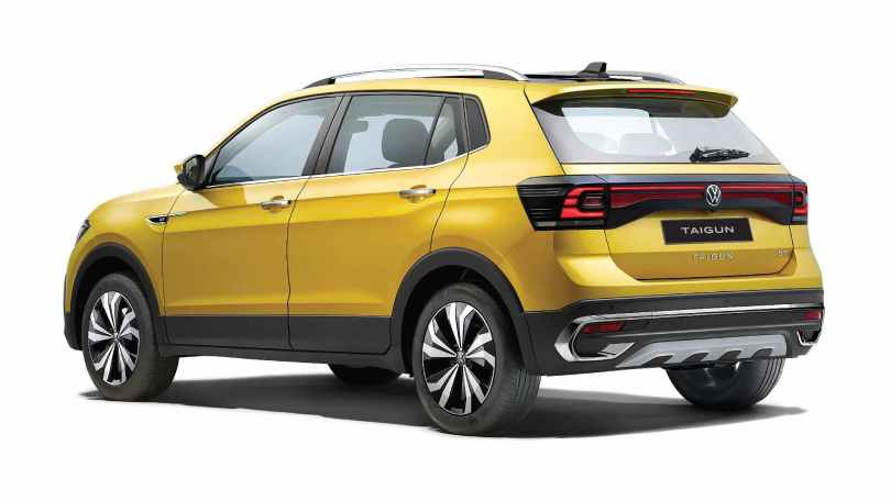 Full-width LED tail-lights (encased in a black finish) aim to make the Taigun look wider than it is. Image: Volkswagen