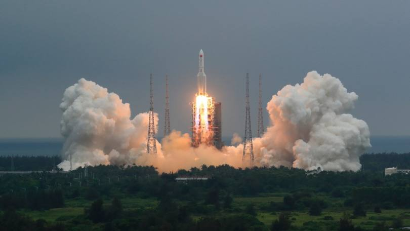 In this photo released by China's Xinhua News Agency, a Long March 5B rocket carrying a module for a Chinese space station lifts off from the Wenchang Spacecraft Launch Site in Wenchang in southern China's Hainan Province, Thursday, April 29, 2021. China has launched the core module on Thursday for its first permanent space station that will host astronauts long-term. (Ju Zhenhua/Xinhua via AP)