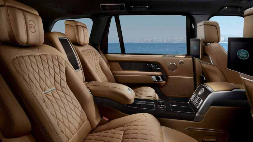 The long-wheelbase version is available with aircraft-style reclining rear seats. Image: Land Rover