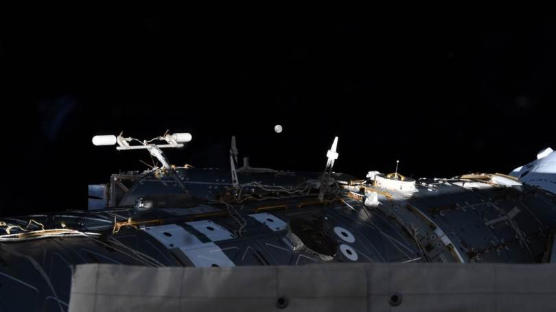 JAXA astronaut Akihiko Hoshide managed to catch a small glimpse of the lunar eclipse from his perch on the International Space Station. Image credit: Twitter @Aki_Hoshide