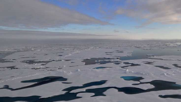 """This are is called the """"Last Ice Area"""" because floating sea ice there is usually so thick that it's likely to withstand global warming for decades or so they thought. Image credit: NOAA"""