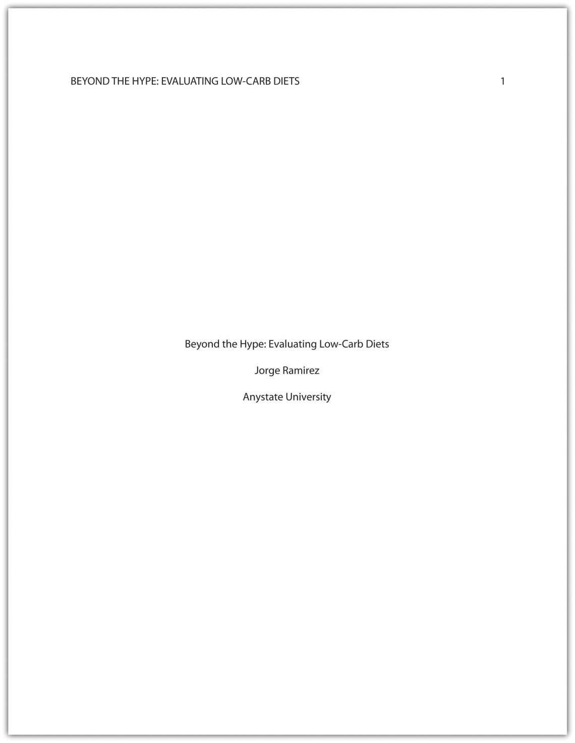 sample mla paper with title page