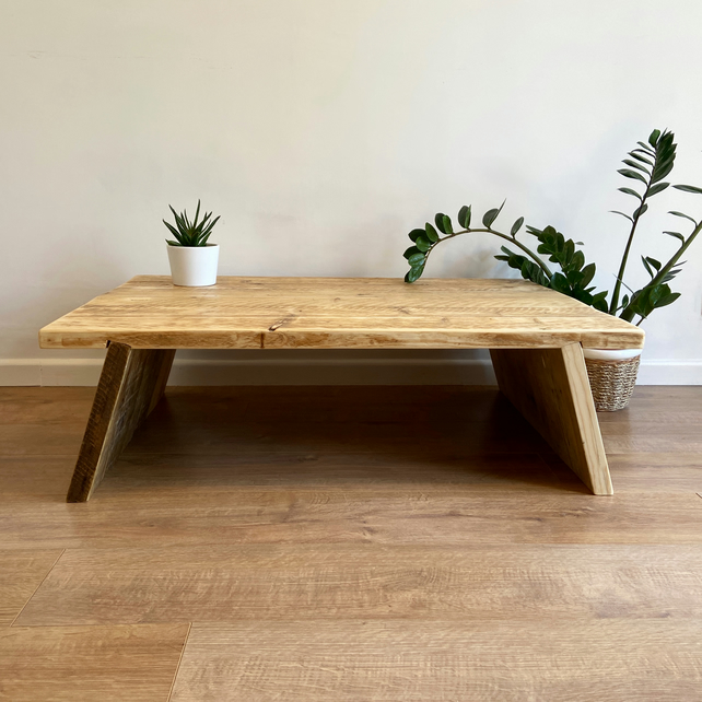 rustic coffee table with splayed legs living room