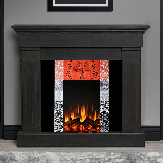 hand painted fireplace tiles