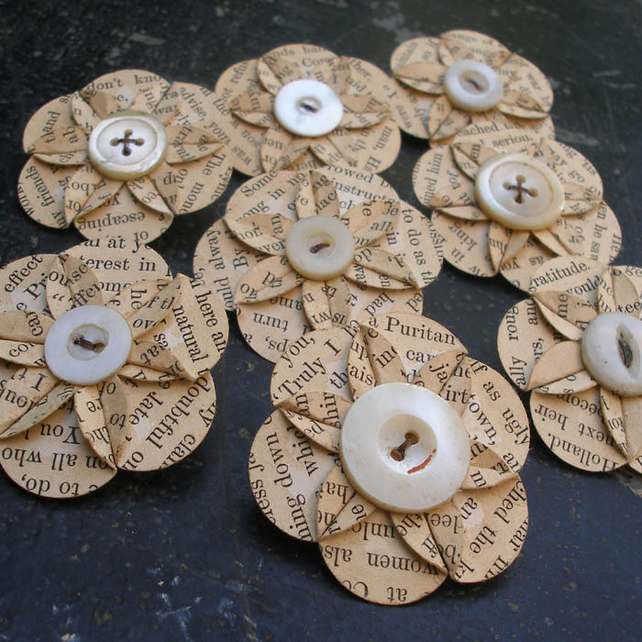 Recycled Vintage Book Page Paper Flower Brooch Folksy