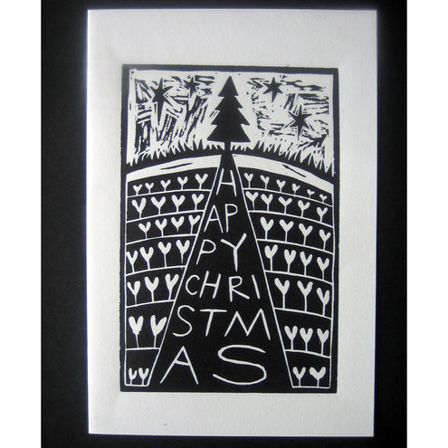 Christmas Card Tree Linocut Folksy