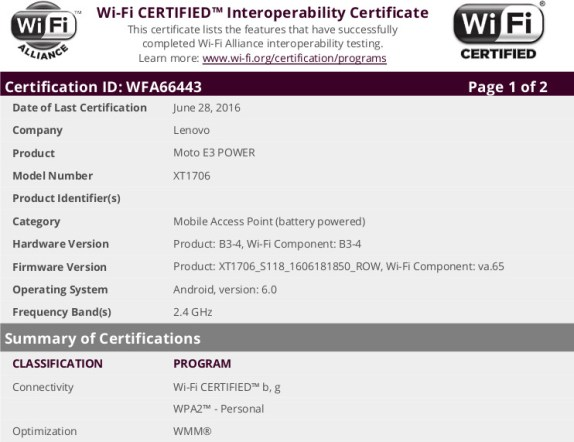 Moto E3 Power WiFi certificate