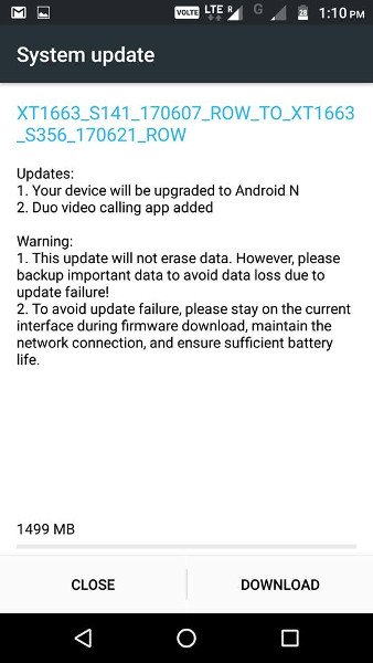 Moto M Android 7.0 Nougat update