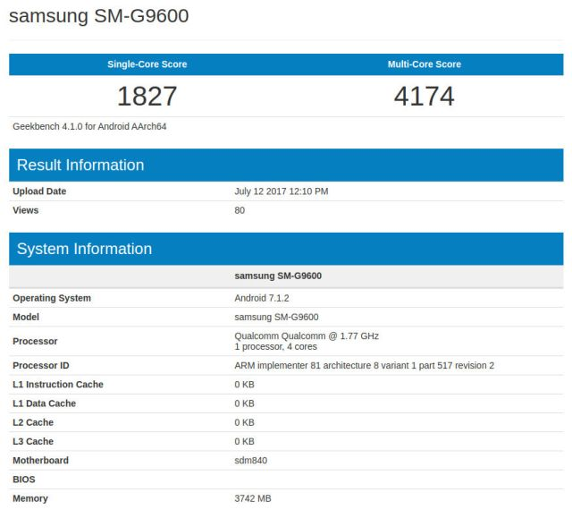 Samsung SM G9600 Geekbench Samsung SM G9600 spotted in Geekbench, leaked smartphone is Lite version of the S8