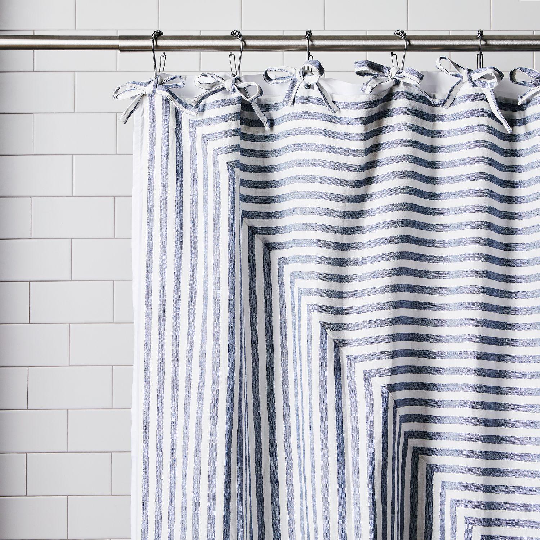 Handmade Linen Stripe Shower Curtain