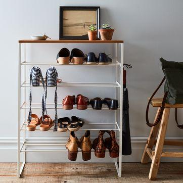 wood steel 6 tier shoe rack