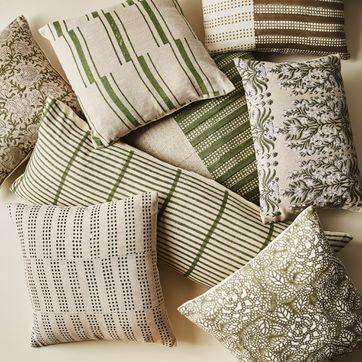 hand blocked green natural throw pillows