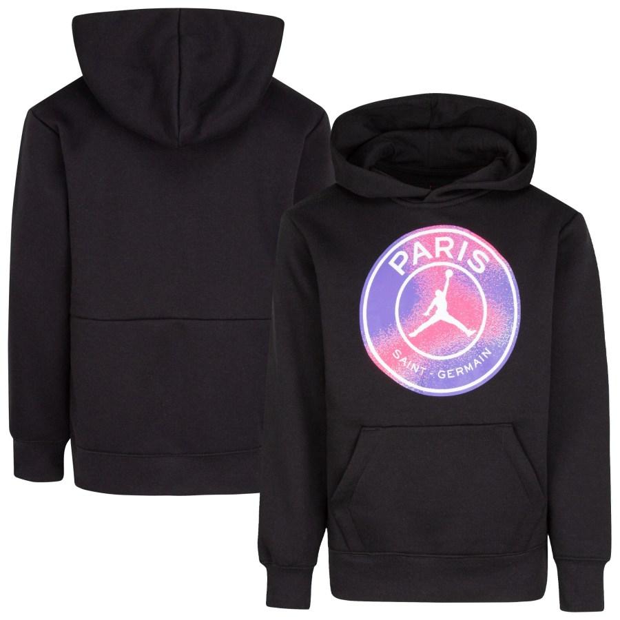 paris saint germain x jordan fleece pullover hoodie black kids