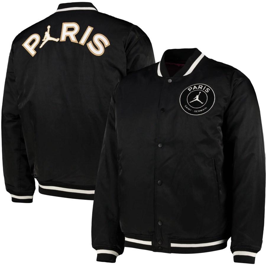 paris saint germain jordan varsity jacket 2020 21 black