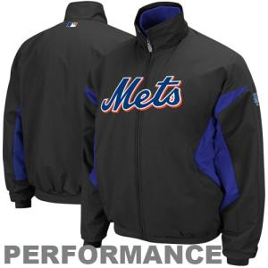 Majestic New York Mets Therma Base Triple Peak Premier Full Zip Jacket - Black