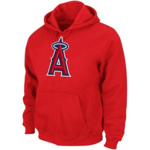 Majestic Los Angeles Angels of Anaheim Suedetek Logo Hoodie Sweatshirt - Red