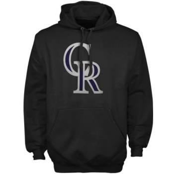 Majestic Colorado Rockies Suedetek Logo Hoodie Sweatshirt - Black