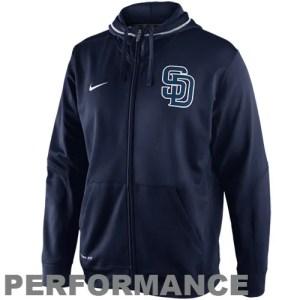 Nike San Diego Padres TKO Performance Full Zip Hoodie Sweatshirt - Navy Blue