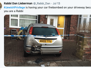 A rabbi shared a photo of his car after an anti-Semitic attack. by the Forward