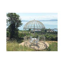 grande tonnelle kiosque de jardin pergola abris rond gloriette en metal blanc 250x250x290cm