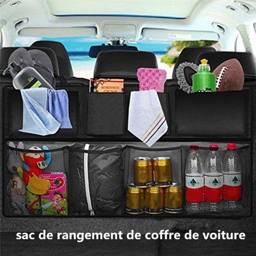 coffre de rangement voiture accessoire voiture 90 46 cm double capacite equipe de elastic net velcro le meilleur rangement coffre voiture