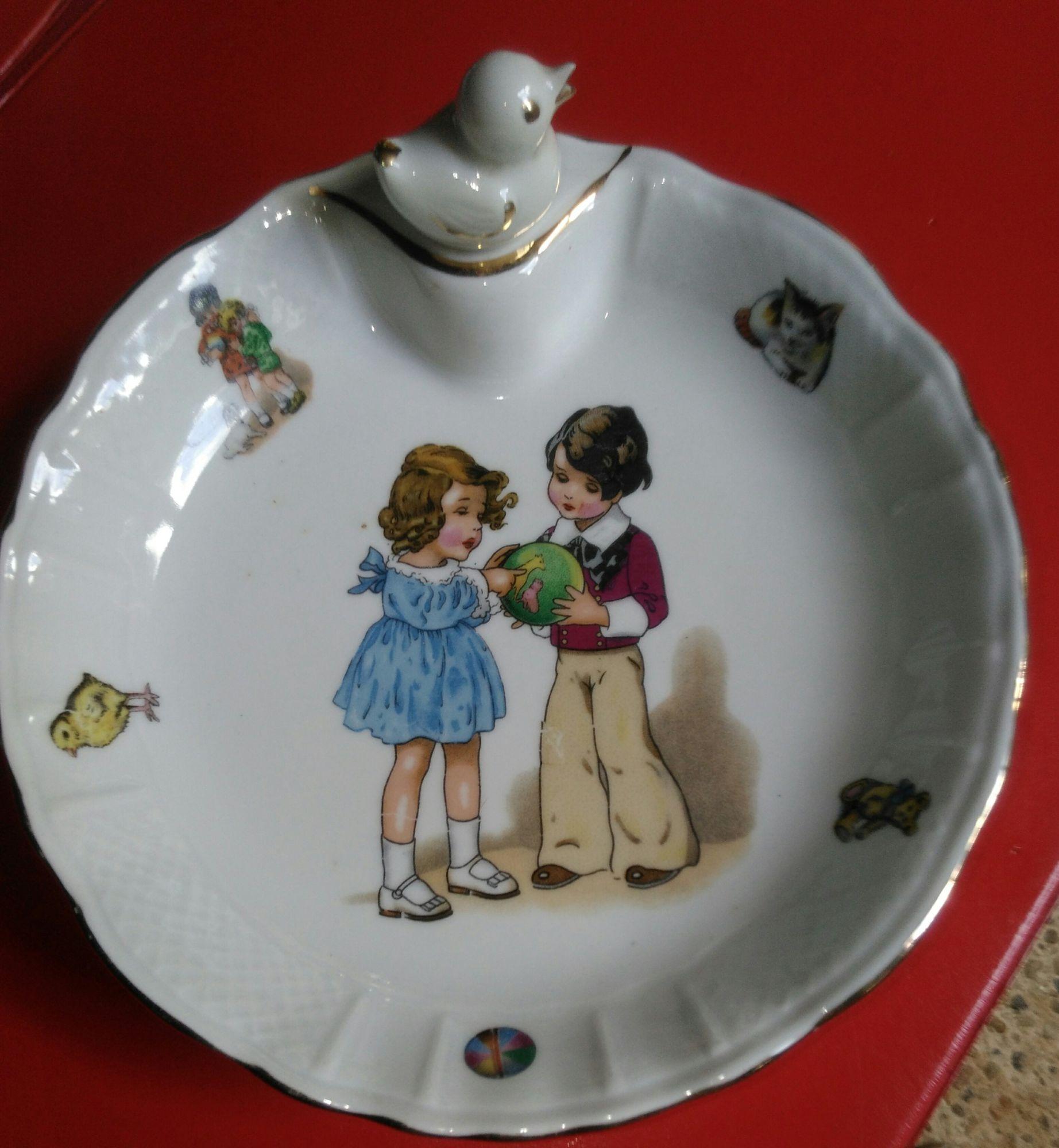 assiette chauffante a bouillie vintage en porcelaine