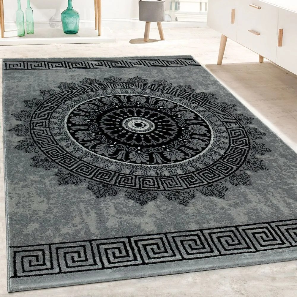 achat tapis salon gris noir poils ras