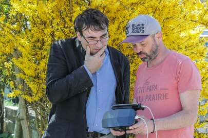 hervé Pellarin premier test du Parrot Bebop Pro Thermal avec l'expert diagnostique Philippe Beinier ©Jean-Marc Favre-WOOlooMOOloo