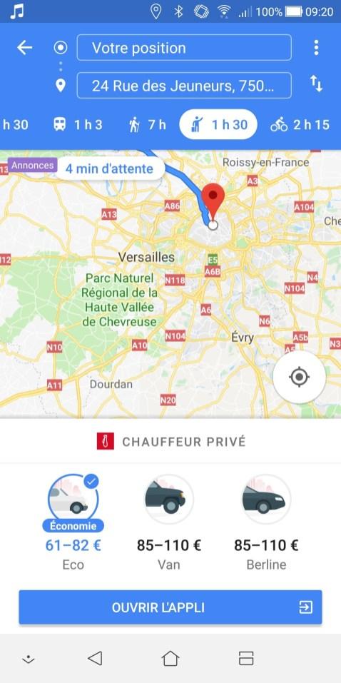 Google Maps Android Chauffeur Privé seulement sans Uber
