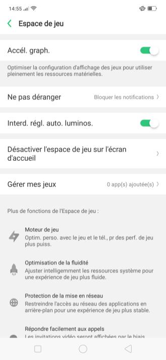 Oppo Find X Color OS UI Test Espace Jeu