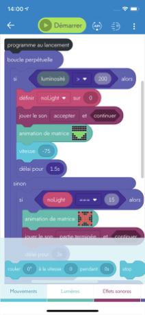 Sphero Edu programme sur smartphone