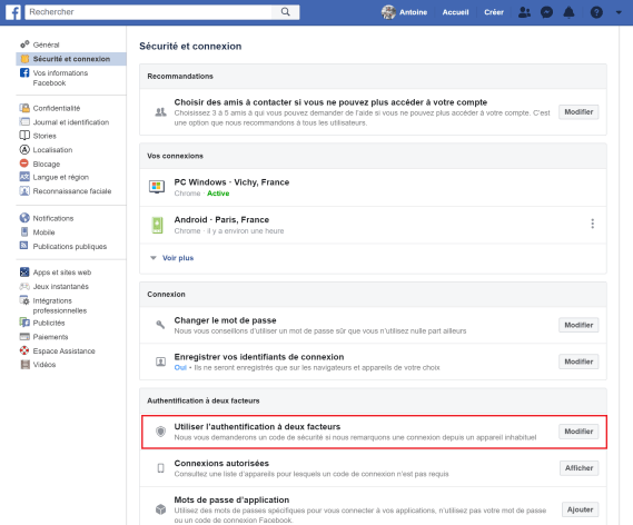 Facebook double authentification 1