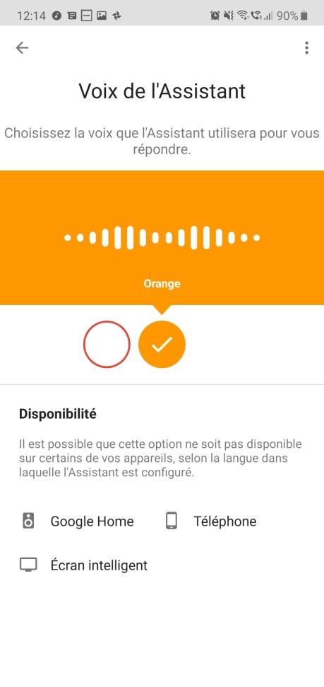 Google Assistant voix orange