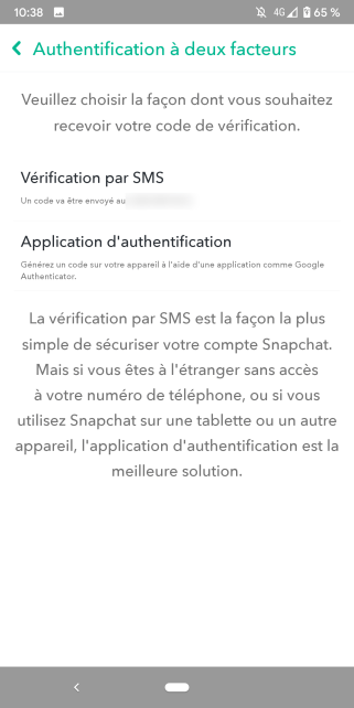 Snapchat double authentification 2