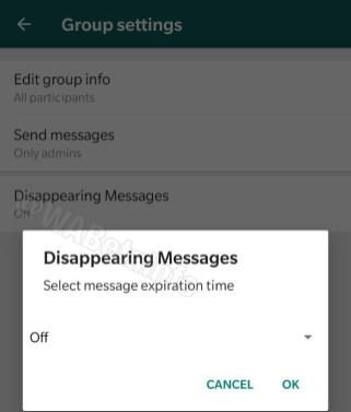 WhatsApp autodestruction messages délai options