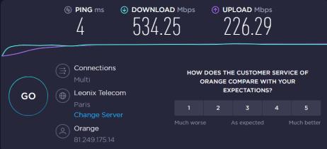 Speedtest à 1m du Nest Wifi