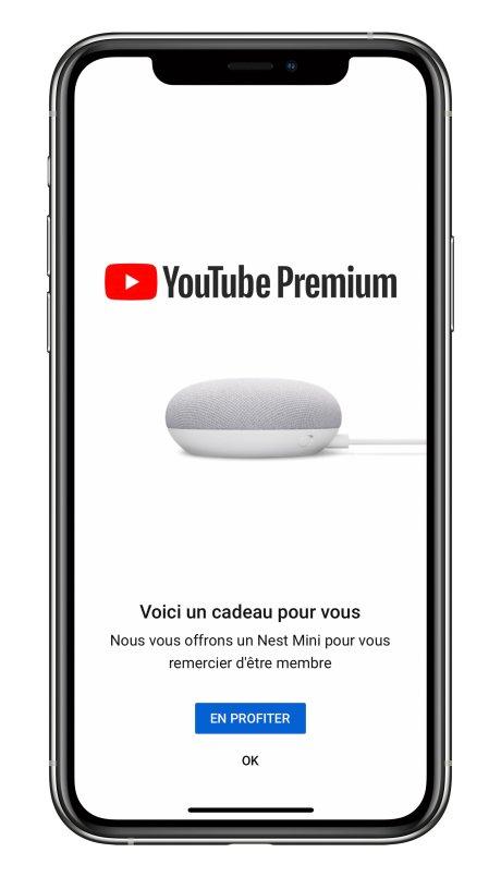 YouTube Premium offre nest mini iPhone