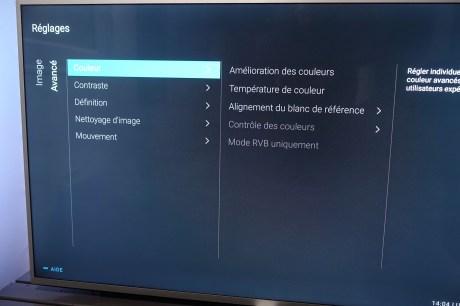Les menus de calibration sont simples à utiliser