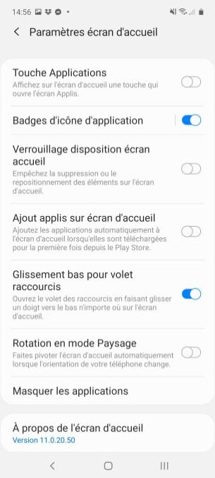 Les paramètres de l'écran d'accueil du Samsung Galaxy Note 10 Lite