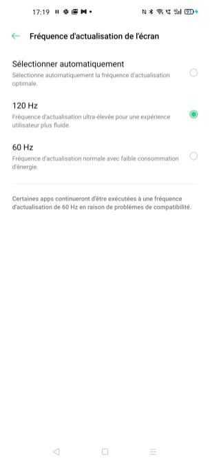 Le réglage du taux de rafraîchissement sur l'Oppo Find X2 Pro